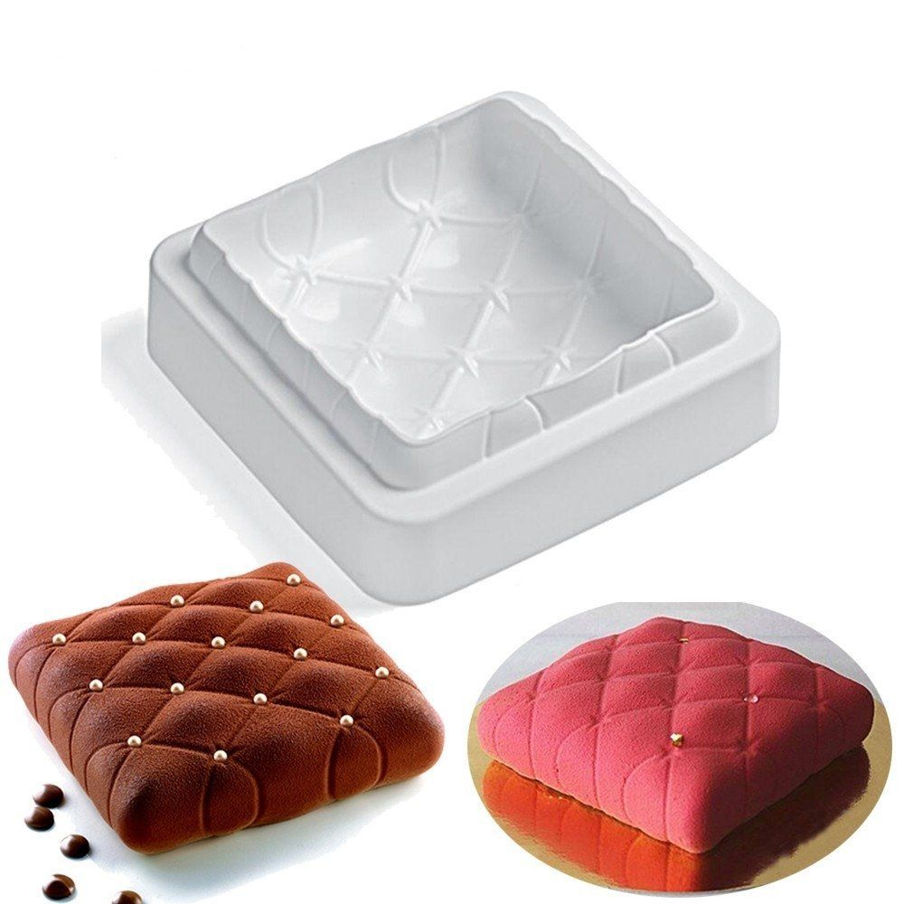 Square Pillow Design Silicone Mousse Cake Mould Soap Mold Silicone Flexible For Mousse Cake Custard Pudding