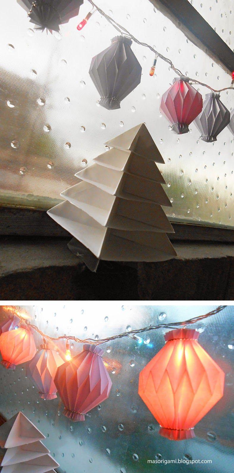 origami - rinconcito navideño decorado con faroles y árbol de Navidad plegados en papel