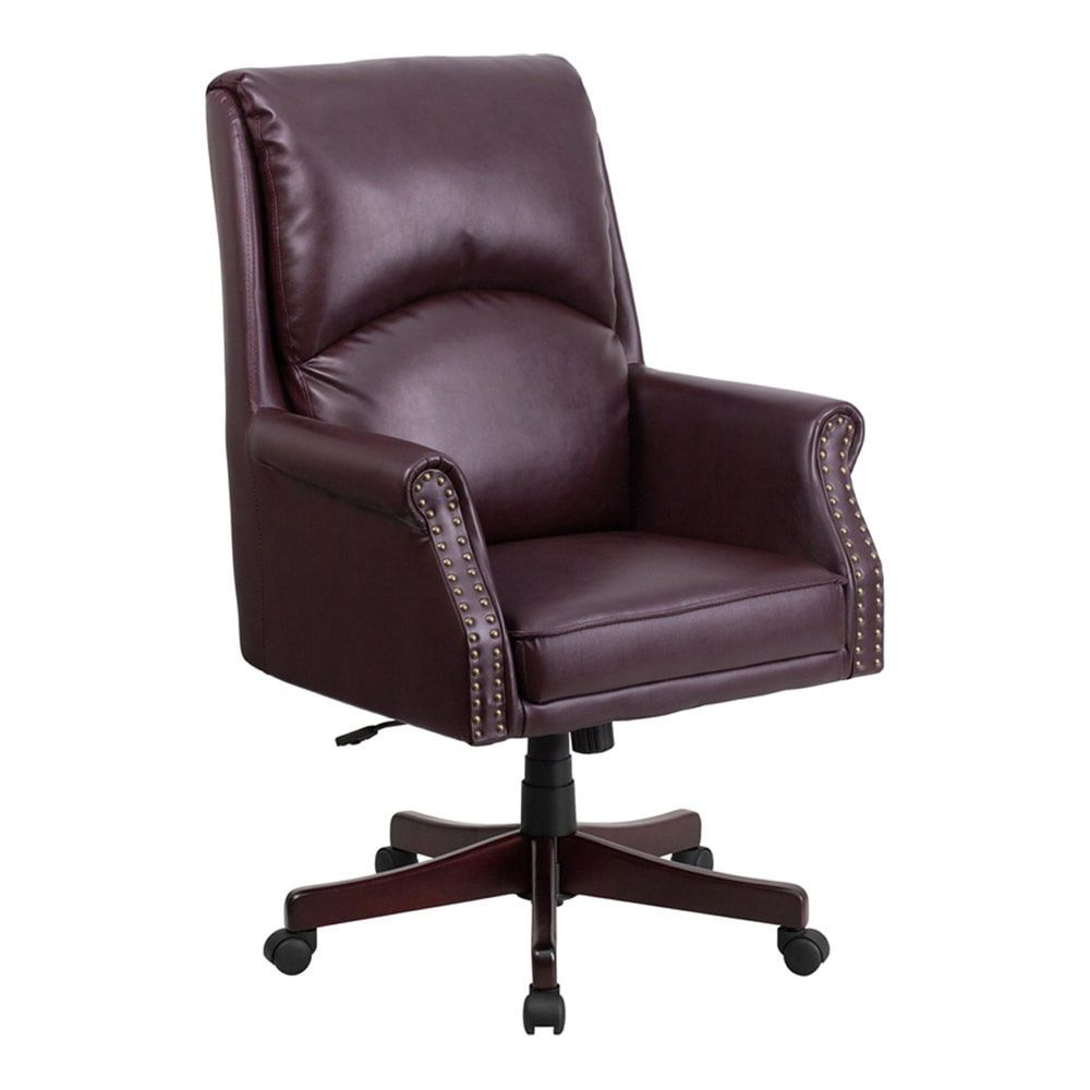 Offex High Back Pillow Back Burgundy Leather Executive Swivel Office