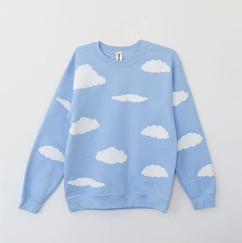 Cloud Print Sweatshirt Blue Sky Puffy Cloud Graphic Crewneck Jumper Pullover Baby Blue Sweater All Baby Blue Sweater Printed Sweatshirts Cloud Sweatshirt