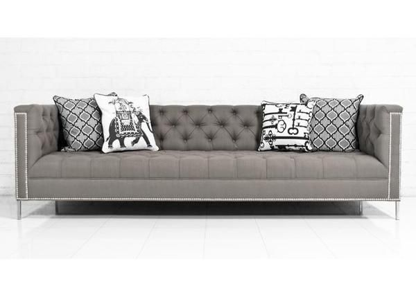 Hollywood Sofa in Textured Grey Linen