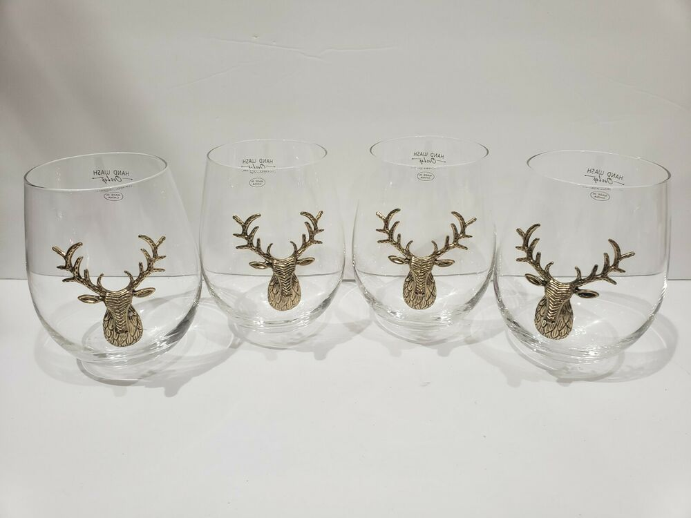 Christmas 3D Deer Head Metal Stag Gold Stemless Wine