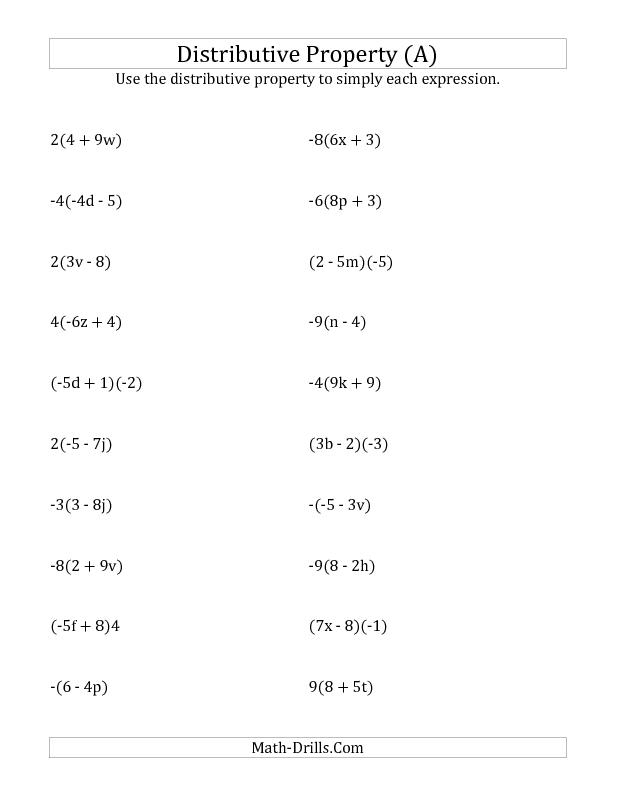 New september 18 2012 algebra worksheet using the algebra worksheet using the distributive property no publicscrutiny Images