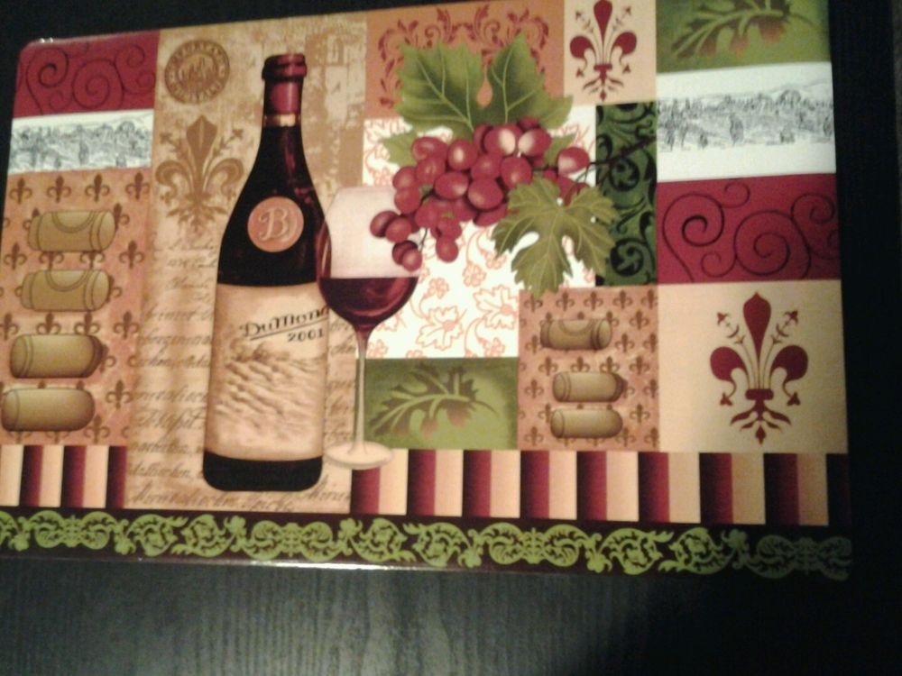 Wine, Grapes Vinyl Placemats set of 2,4,6 or 8