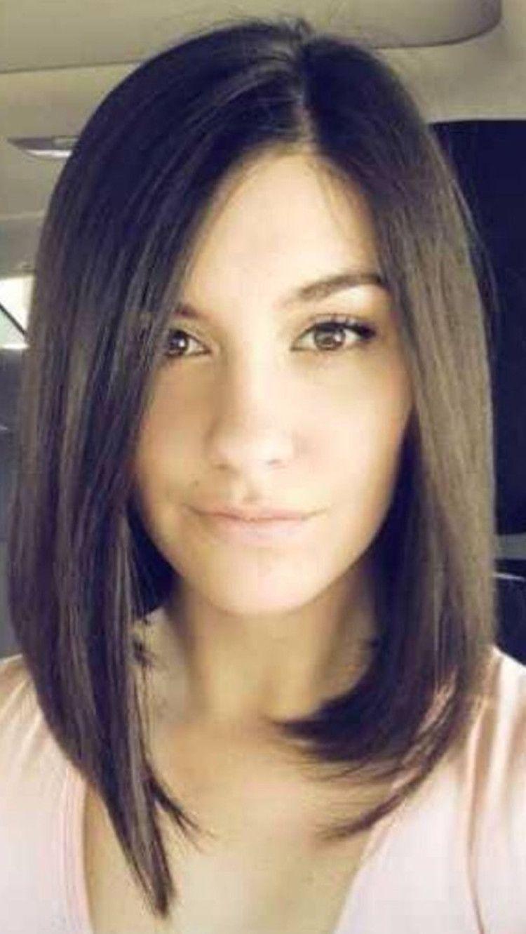 Cute long straight bob hairstyle  Brunette bob haircut, Medium