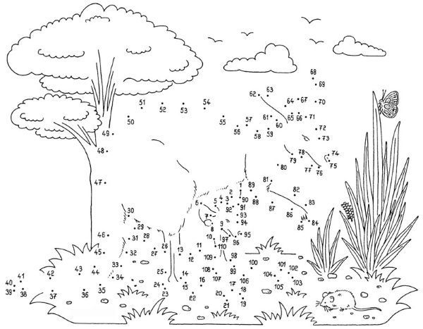 Dibujo de unir puntos de canguro con beb dibujo para colorear e