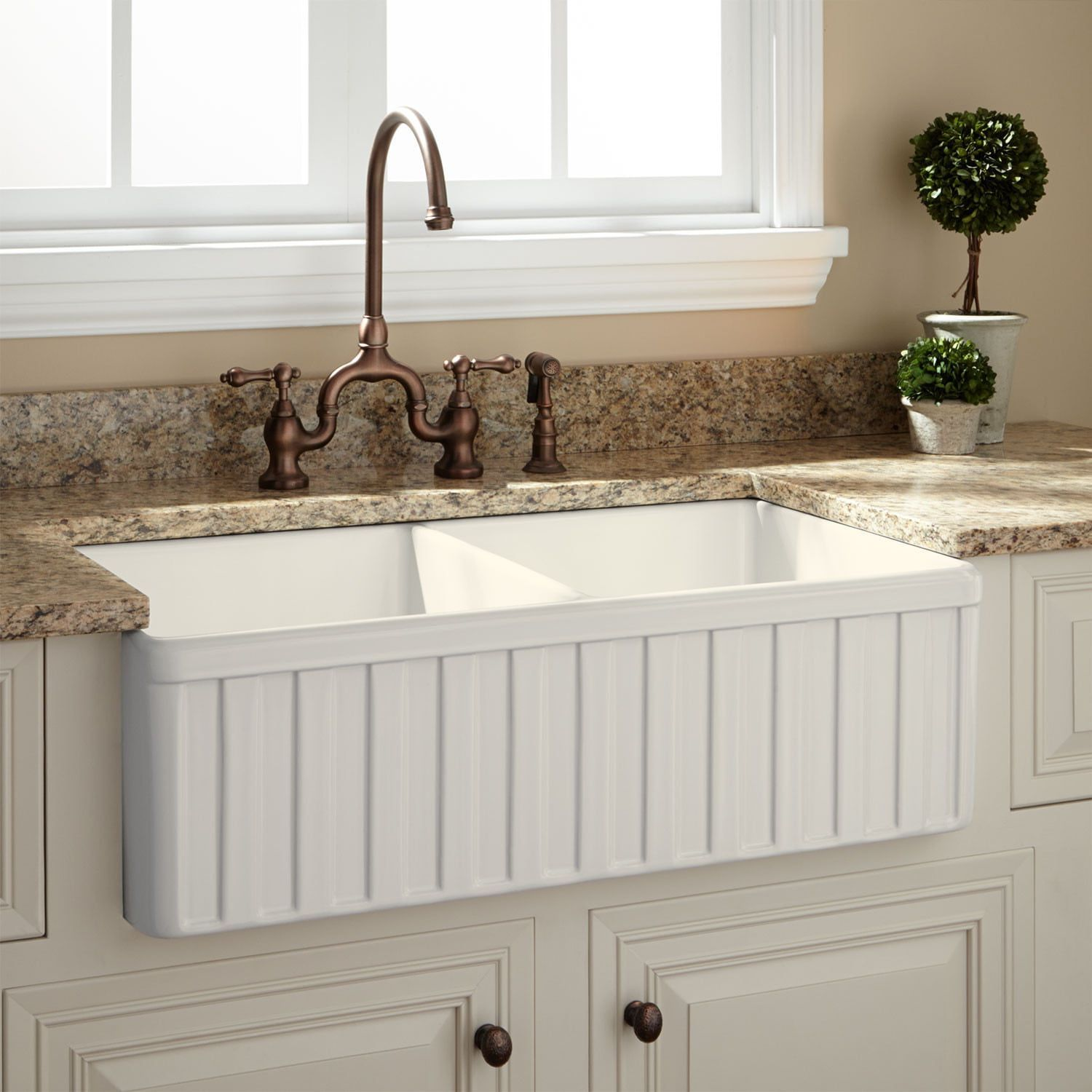 33 oldham doublebowl fireclay farmhouse sink fluted