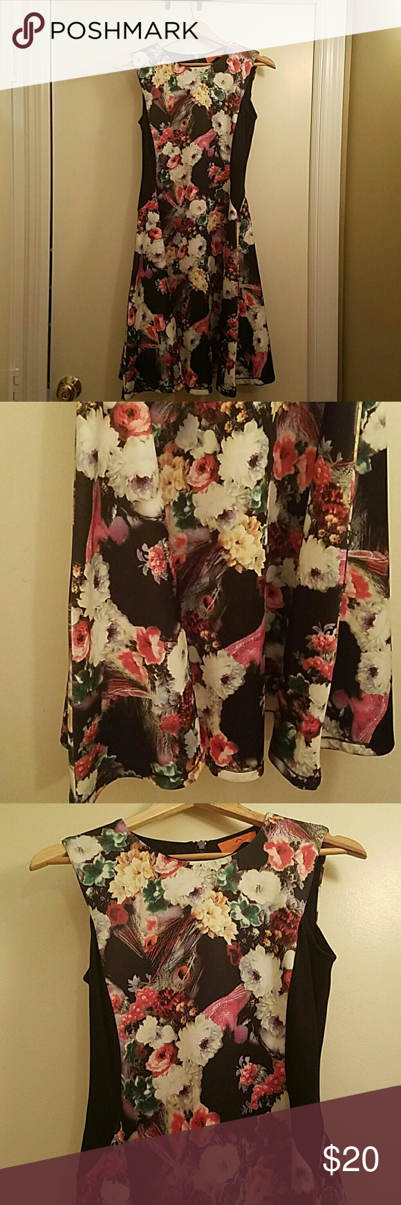 "New No Tag Patrizia Luca Floral Scuba Dress Small Brand new.  Never worn.  Fit and flare.  Stretchy. Exposed back zipper.  Unlined.  Sleeveless. Poly/Spandex. Floral and black. 17"" across chest, 15"" across waist, 37"" from shoulder to bottom hem.  I'm 5'3 and 125 pounds and this fits me. Patrizia Luca Dresses Midi"