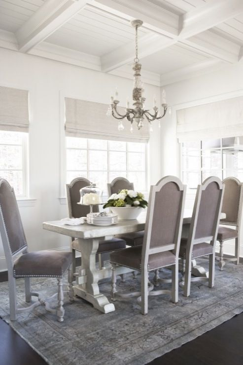 Linda McDougald Design   Dining Rooms   Beadboard, Coffered, Ceiling,  Oatmeal, Linen
