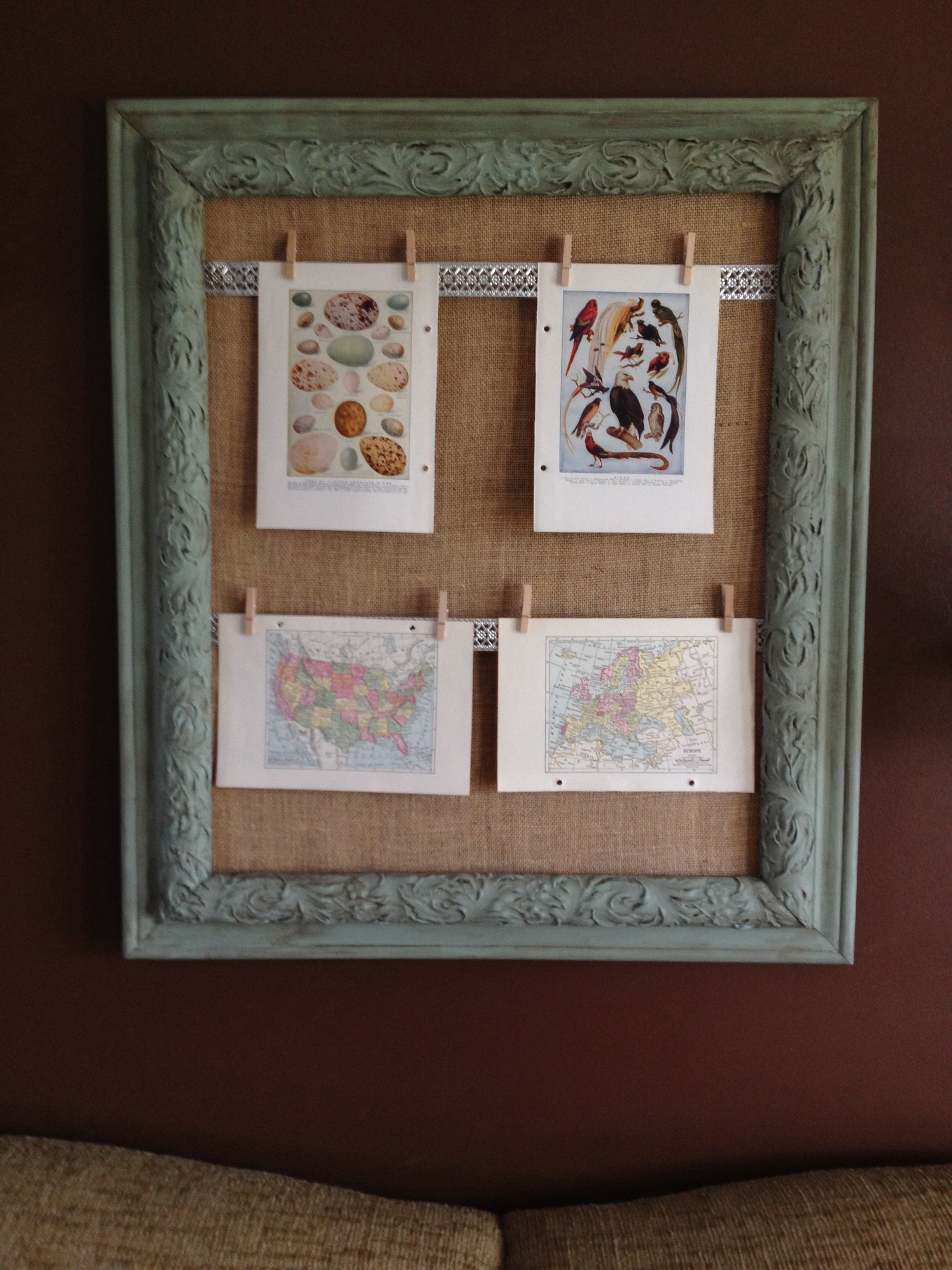 DIY Upcycled picture frame with burlap and prints from vintage encyclopedia
