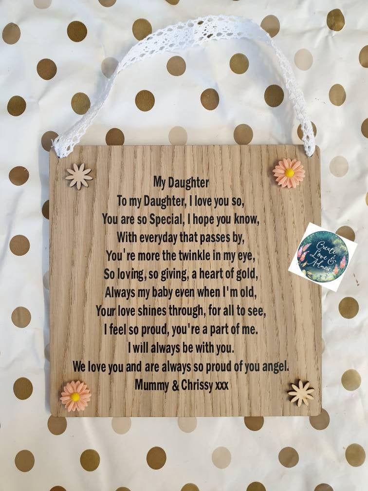 Daughter sign personalised daughter gift daughter poem
