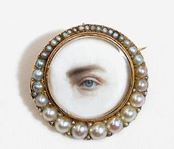 """Georgian Lover's Eye Miniature Portrait Brooch: """"The most enigmatic and often elusive of jewels is the lover's eye or eye miniature. Even more unusual is the atypical eye portrait of a man's eye rather than that of a woman. Moreover, these portraits were often set into brooches that only women wore and, they were frequently exchanged as tokens of love; it would seem more common to have a representation of a man's eye. However, contrary to some beliefs, these eye miniatures also became tokens…"""