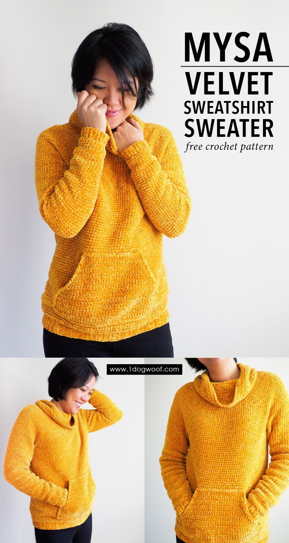 Mysa Velvet Sweatshirt Sweater Crochet Pattern #dogcrochetedsweaters