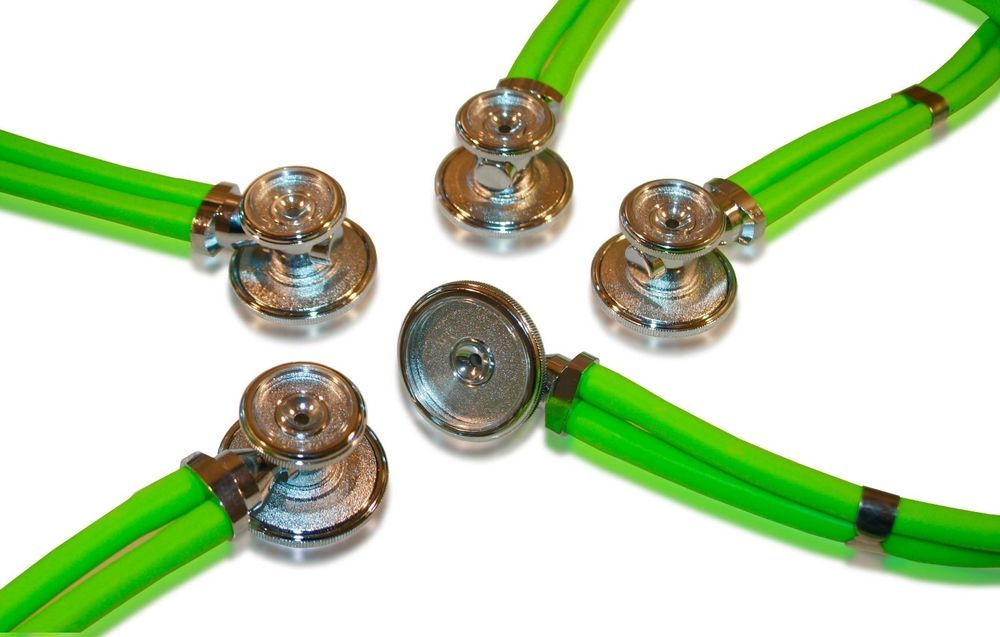 5 Pack of Neon Green, Adult Sprague Rappaport Stethoscopes - Neon Green #BVMedical