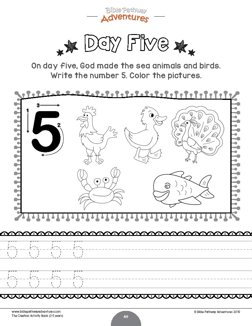 Creation Day 5 Coloring Sheet