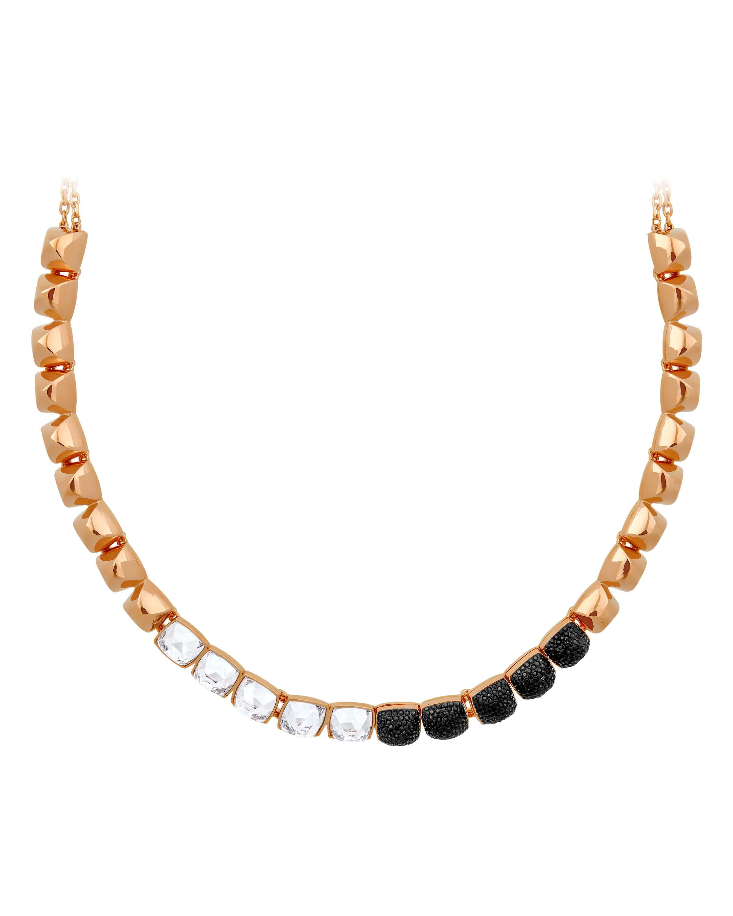Collection Name: Glance 18k Rose Gold-Plated Black & Clear Swarovski Crystal Chain Length: 15.5 in.