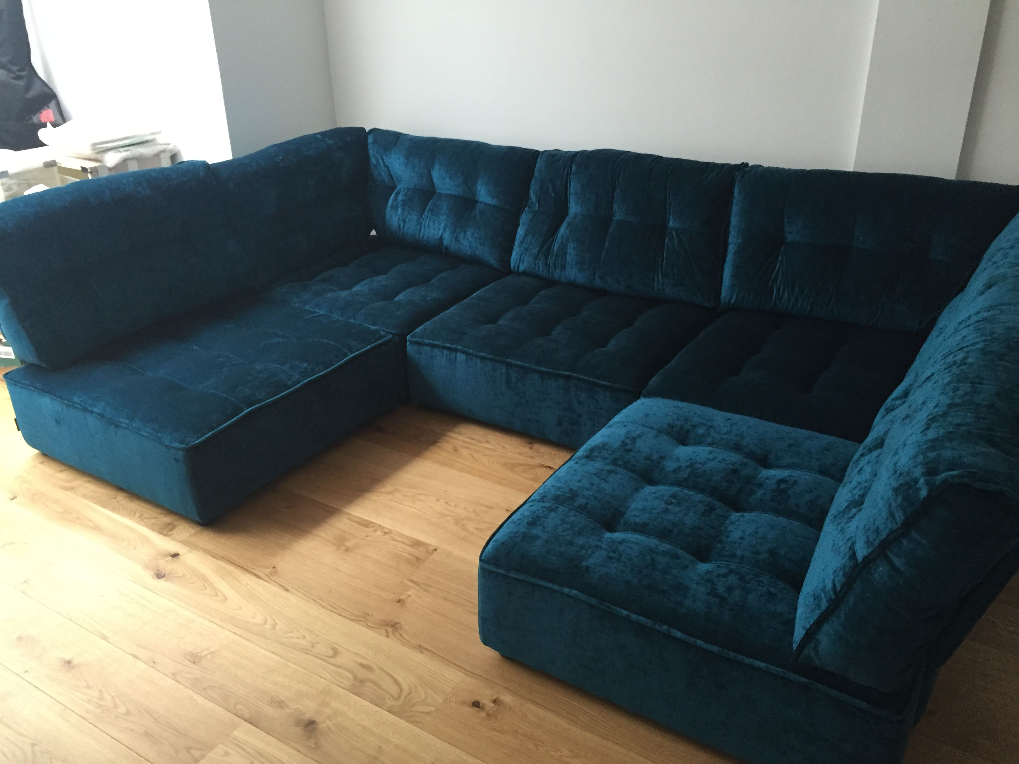 Petrol Slub Velvet From Ross Fabrics Pistache Range Modular Unit Home Decor Sectional Couch