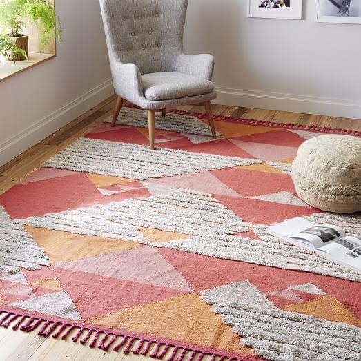 Sonora Shag Wool Kilim Rug, 9\'x12\', Macaroon Pink | Master Bedroom ...