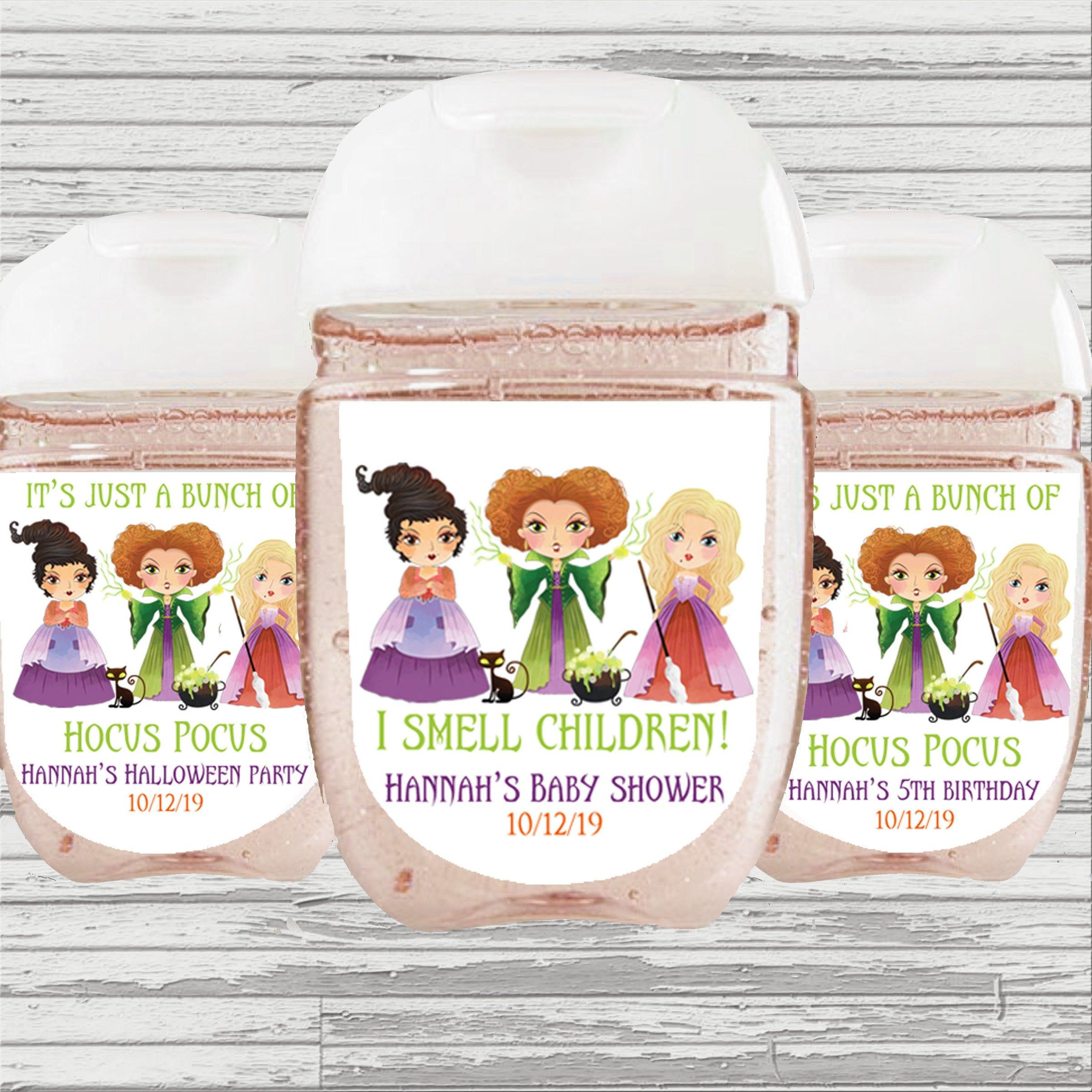 Hocus Pocus Sanitizer Favor Label Birthday Baby Shower Hand