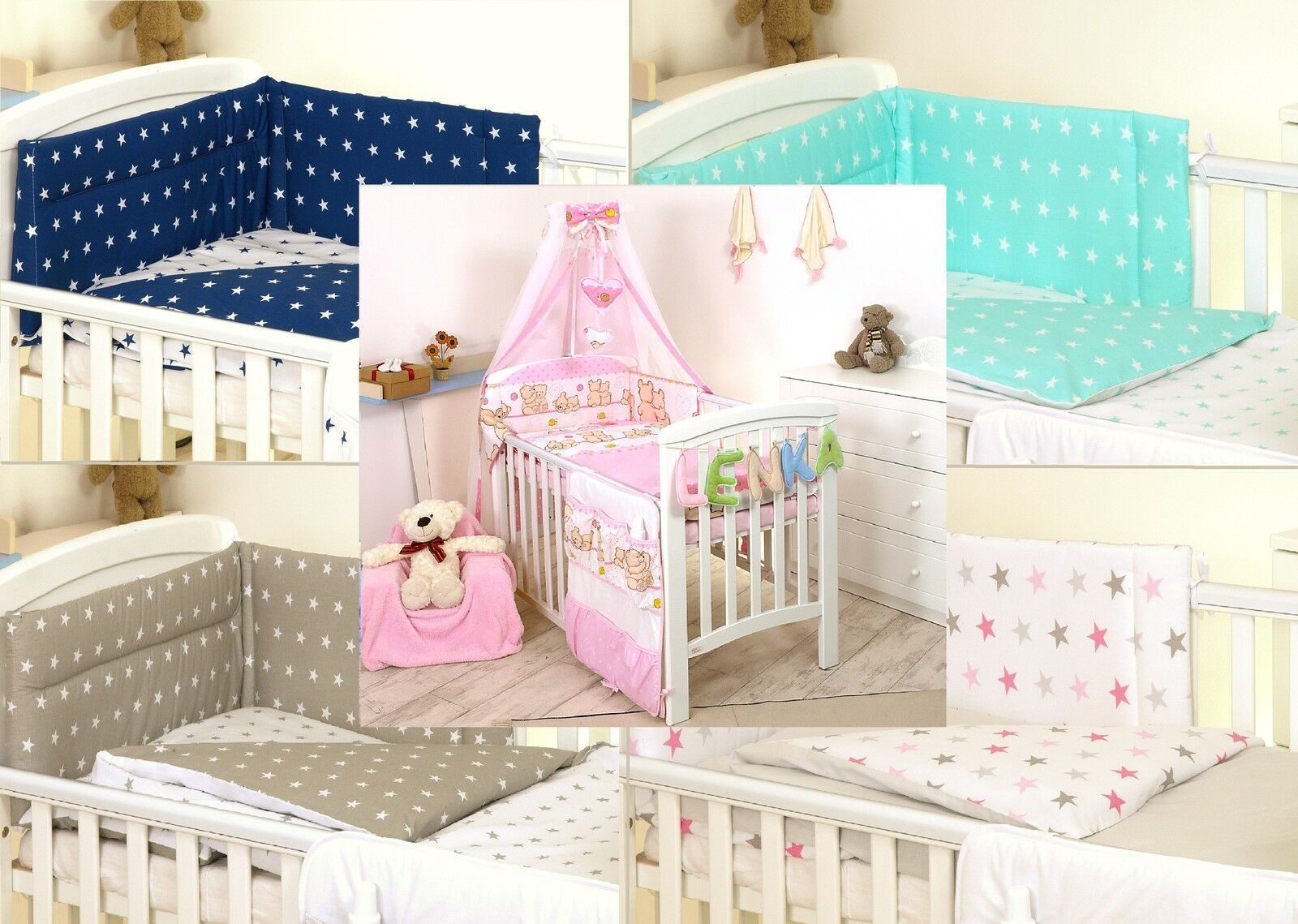 Pink Teddy Baby Bedding Set Cot Or Cot Bed Covers Bumper Canopy