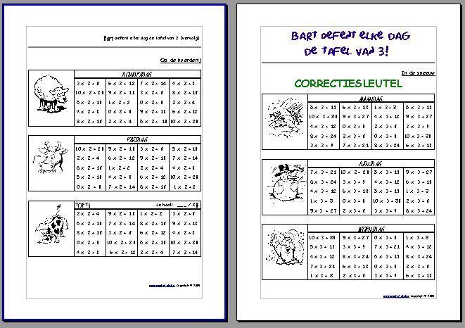 Gepersonaliseerde werkbladen: (Naam) oefent elke dag de tafels!