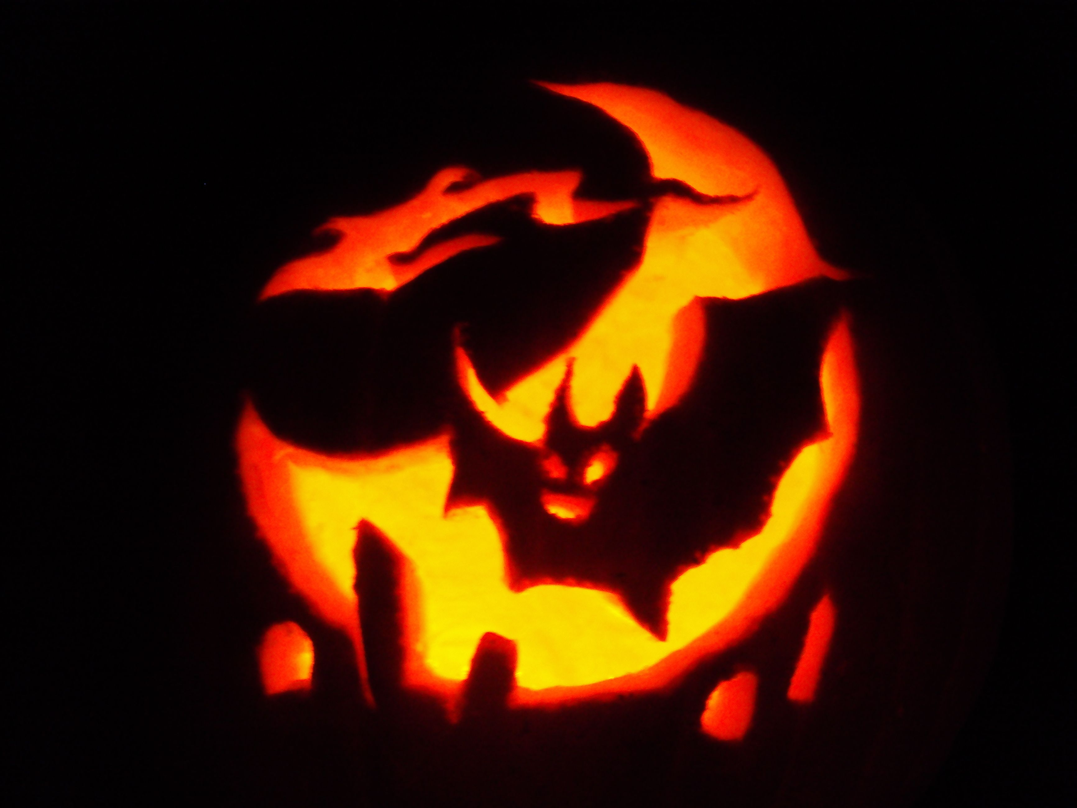 Bat Jack O Lantern Carved By Me From The Pumpkin Masters Pattern