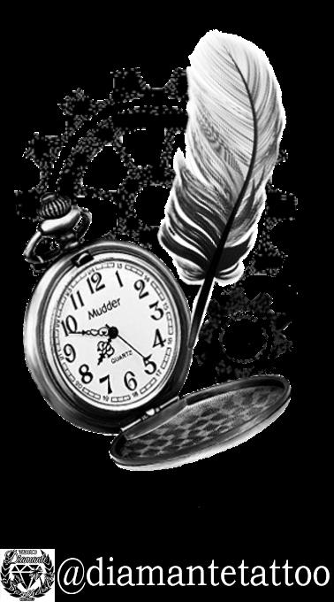 Reloj Con Pluma Y Pájaros Diseño Para Tatuaje Realista En Blanco Y