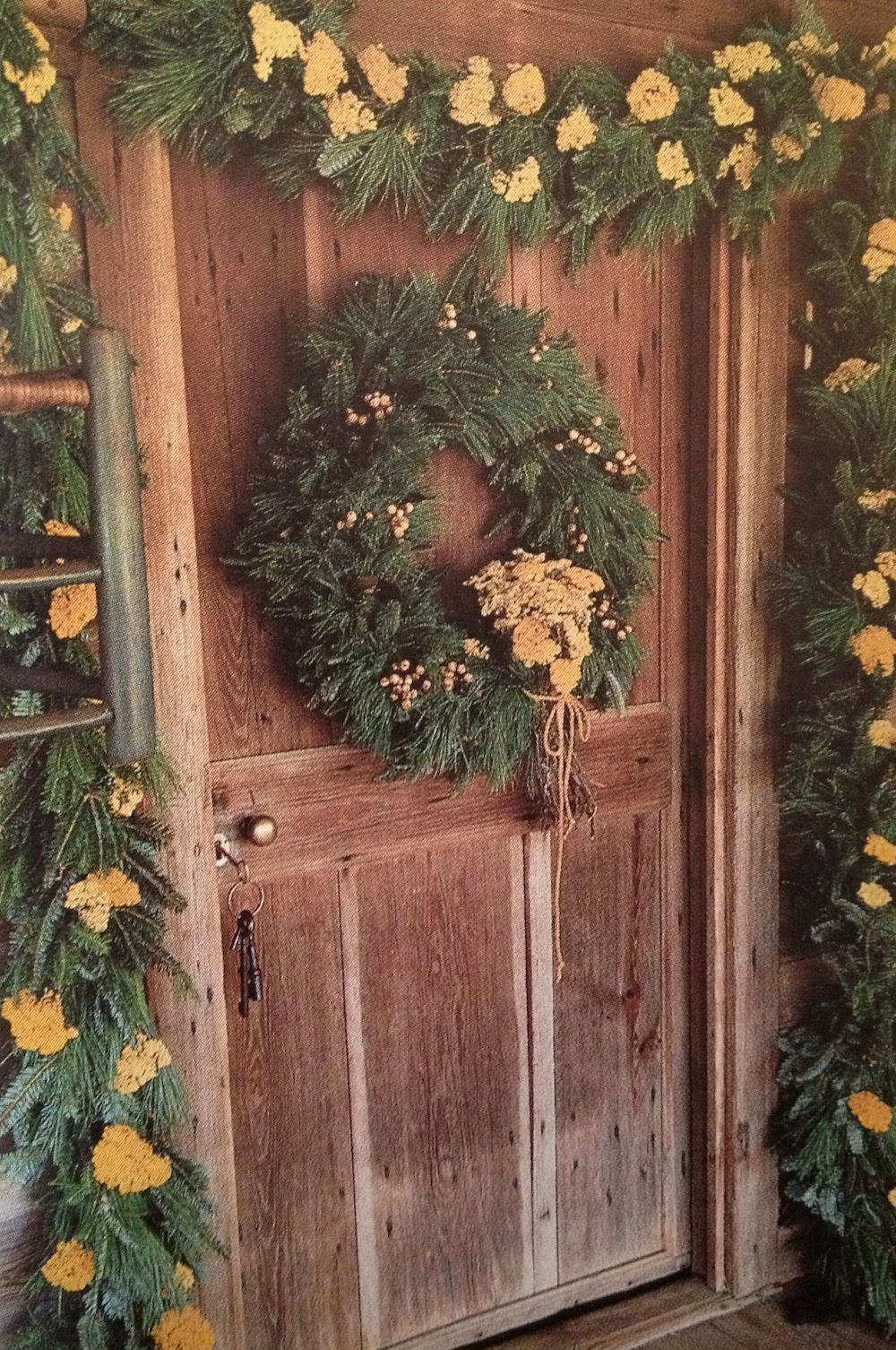 Beautiful Christmas garland and wreath...could use artificial rope greens over living room window and deck window and dining window...add little lights and bling too or antique ornaments kids can make. K.W.