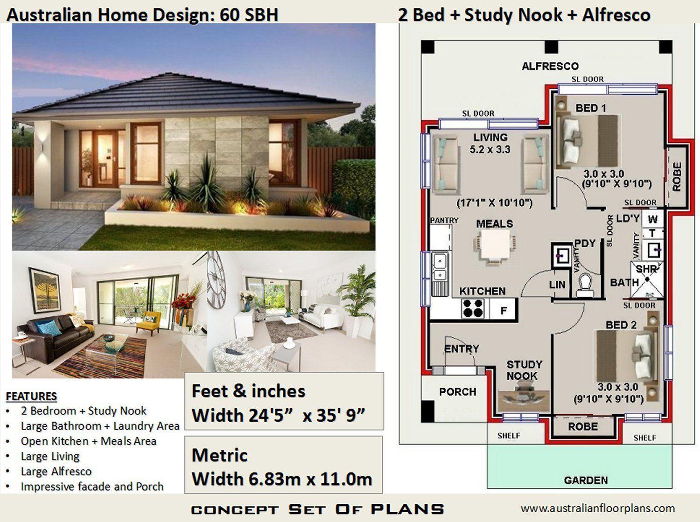 60 M2 645 Sq Foot 2 Bedroom House Plan 60 Sbh Etsy House Plans For Sale Modern House Plans 2 Bedroom House Plans