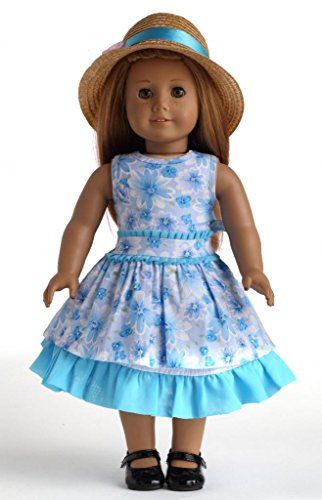 "Blue Floral Dress Set 2PC Dresses Doll Clothes for 18"" American Girl Dolls:Amazon:Toys & Games"