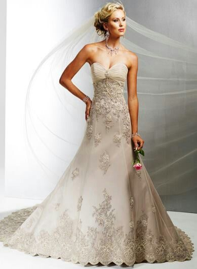 Taupe Wedding Dress With Vintage Lace Girls In White Dresses