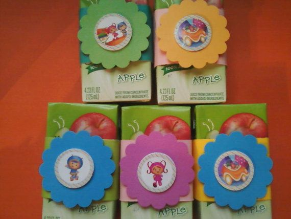 12  Team Umizoomi Juice Box Covers Birthday by sugarspiceparties, $7.00