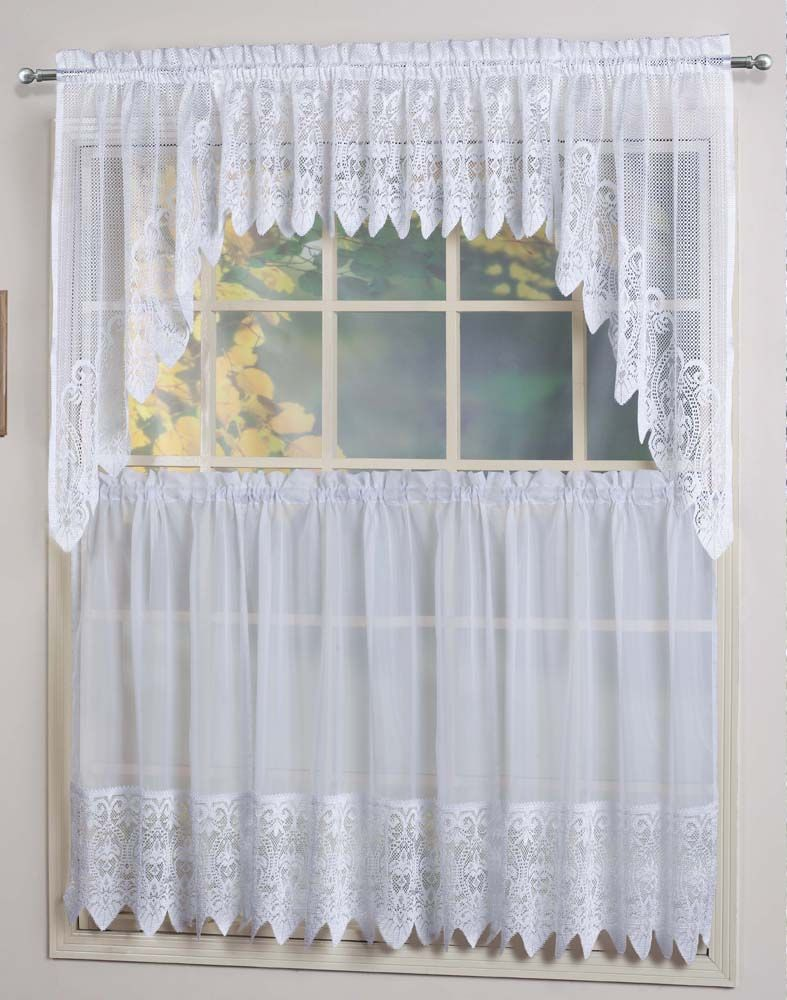 Valerie Curtains Are A Sheer Macrame Combination Style The Tiers Are Sheers Embellished With A Scalloped Macrame Bo Curtains Curtains Pair Curtains For Sale