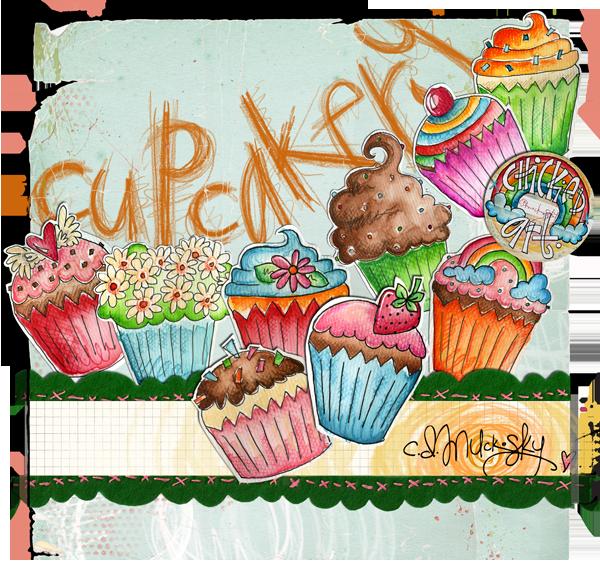 Frameless Modern Cartoon Chefs Canvas Prints Restaurant: Cupcakery By CD Muckosky