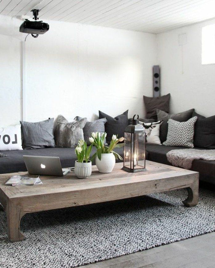 Un Salon En Gris Et Blanc C Est Chic Voila 82 Photos Qui En Temoignent Deco Salon Blanc Salon Gris Et Blanc Deco Maison