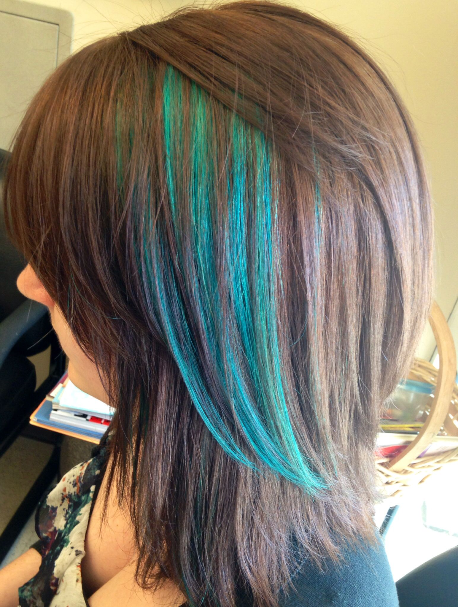 Teal Highlights Hair Streaks Peekaboo Hair Kids Hair Color
