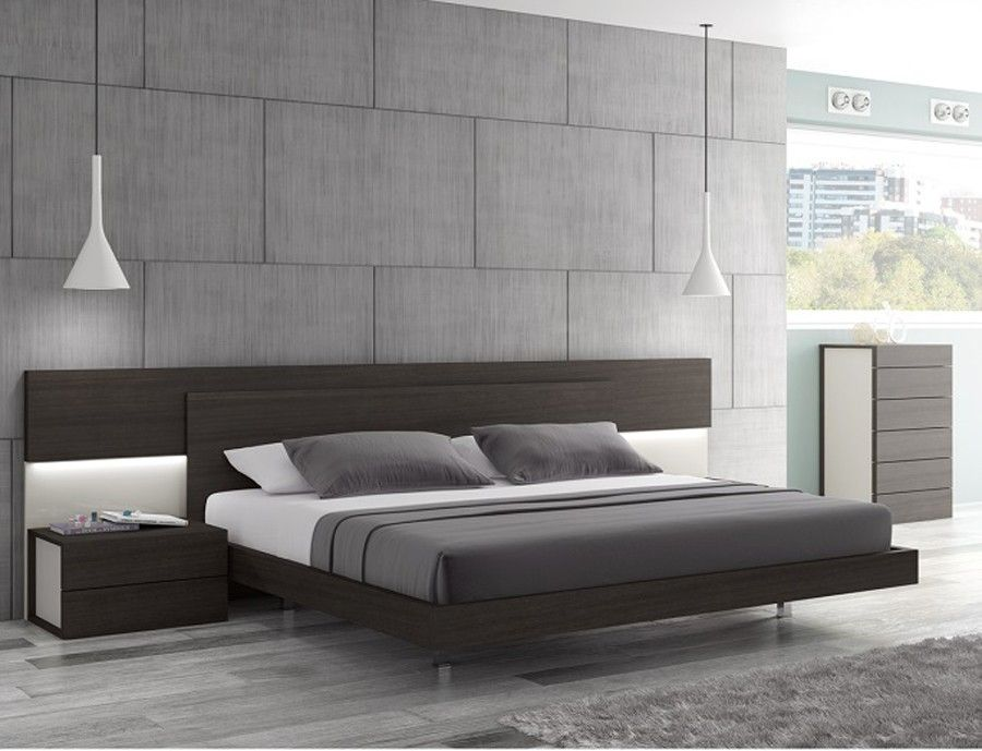 J m maia wenge premium queen platform bed with headboard lights 17867221 modern bedroom - Modern bed ...