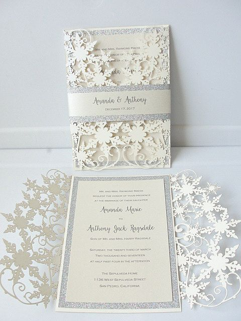 Winter Wedding Invitation Snowflake Invite December Wonderland Snow Glitz
