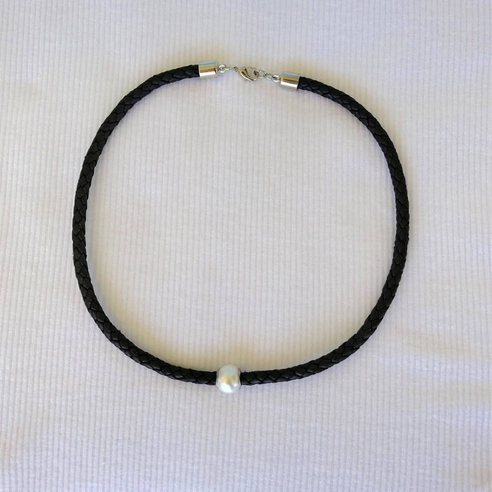 Single Pearl Leather Choker Necklace Handmade Genuine Black Braided Thick  Leather Bohemian Jewelry Leather Necklace Choker Silver