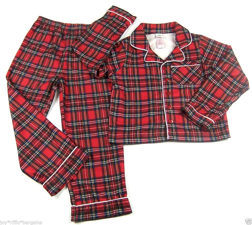 4d3fb7a7a602 Little Me Red Plaid Flannel Scottish Tartan Pajamas Boys Size 4T Top ...