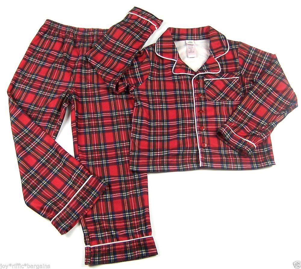 Little Me Red Plaid Flannel Scottish Tartan Pajamas Boys Size 4T ...