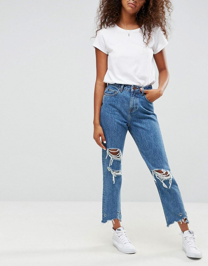 ASOS ORIGINAL MOM Jeans in Olivia Mottled Wash with Rips and Busts ... ae1b850d924