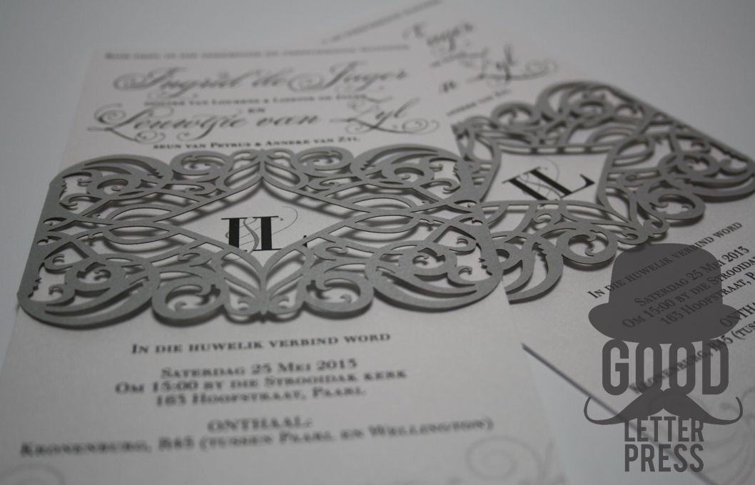 wedding invitation with laser cut belly band wedding