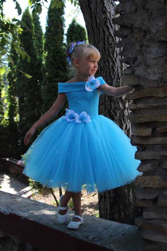 Blue Flower Girl Dress - Birthday Wedding Party Holiday Peasant ...