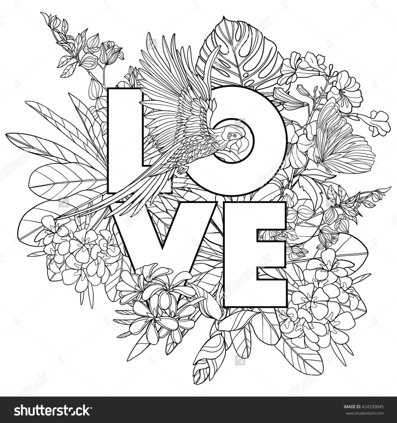 Coloring Page With Word Love And Tropical Birds Plants Outline Vector Illustration