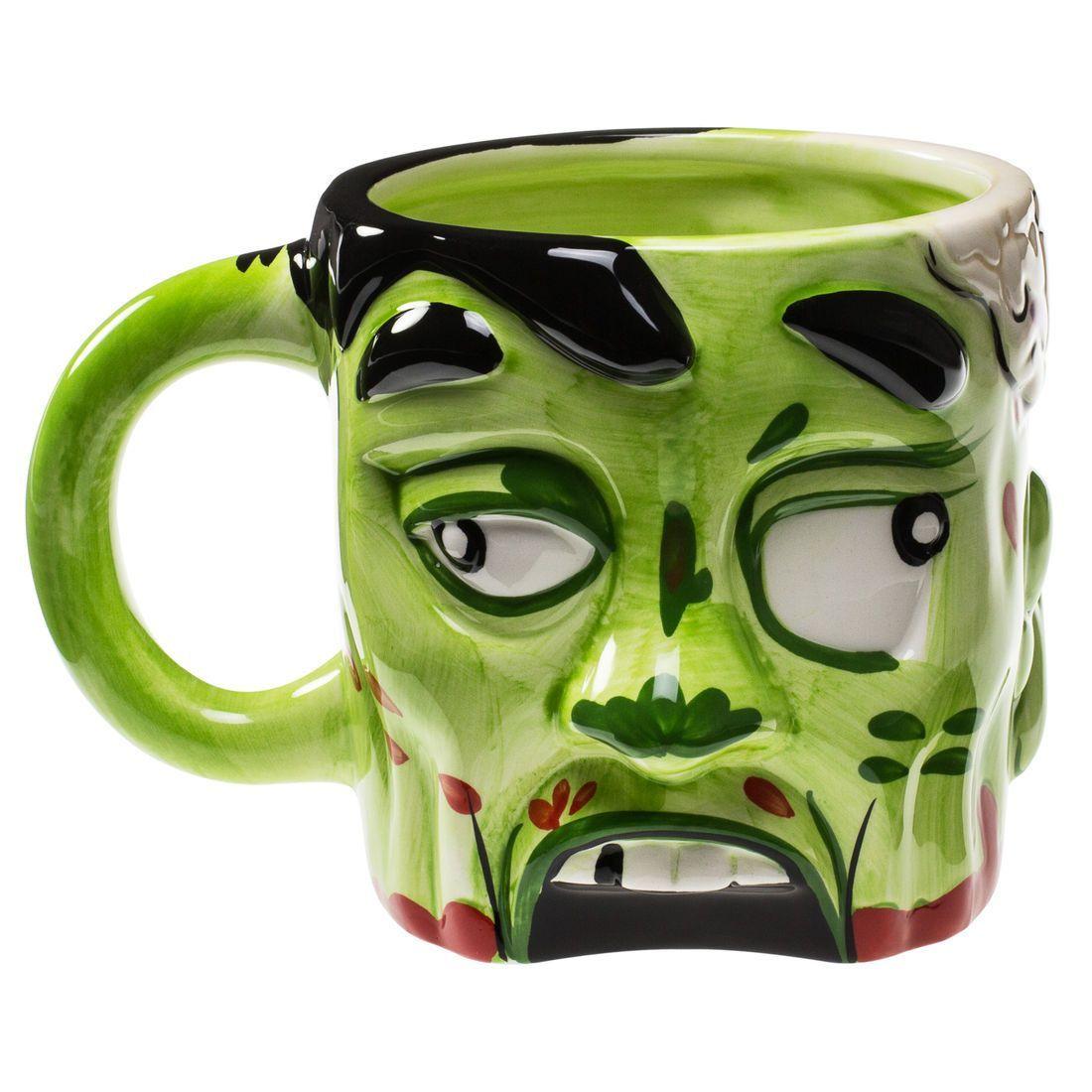 Diesem Zombiekopf wurde das Gehirn entfernt, damit Du Getränke aus ihm genießen kannst.Der Zombiekopf Becher für alle Fans von Halloween oder Zombie-Serien wie The walking Dead. Wir empfehlen Tomatensaft als Getränk für den Becher.
