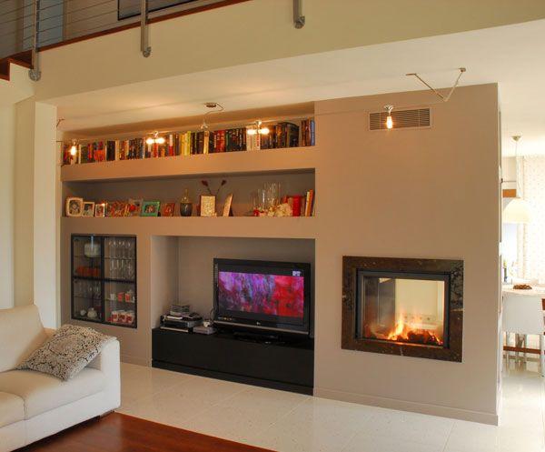 Parete cartongesso camino home tv wall caminetti for Stili di mobili