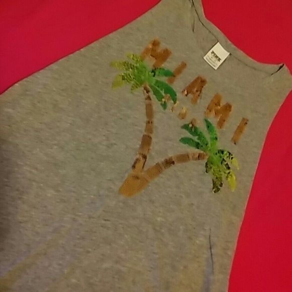 Pink Sequins Muscle Tank Never worn Miami Tank with sequins state name n palm trees PINK Victoria's Secret Tops Tank Tops