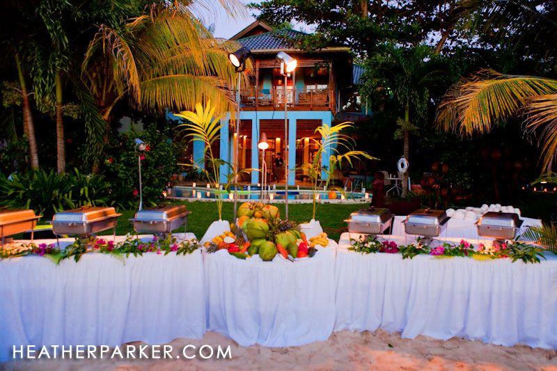 Jamaica Destination Wedding Reception At Twilight The Fresh Food Setup Was A Hit