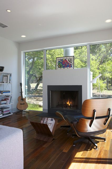 Modern Fireplace In A Family Room